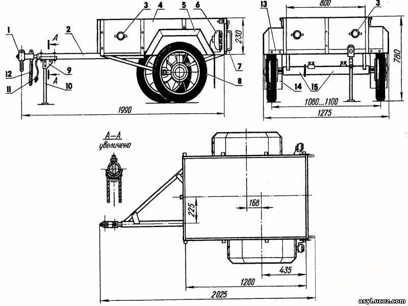 Самодельный грузовой прицеп для мотоцикла