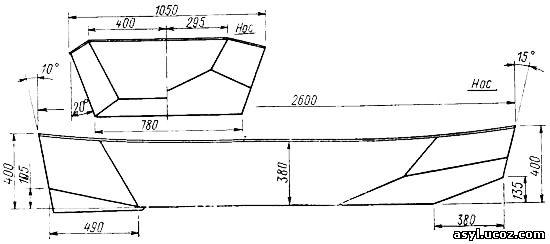 Теоретический чертеж корпуса лодки из пенопласта