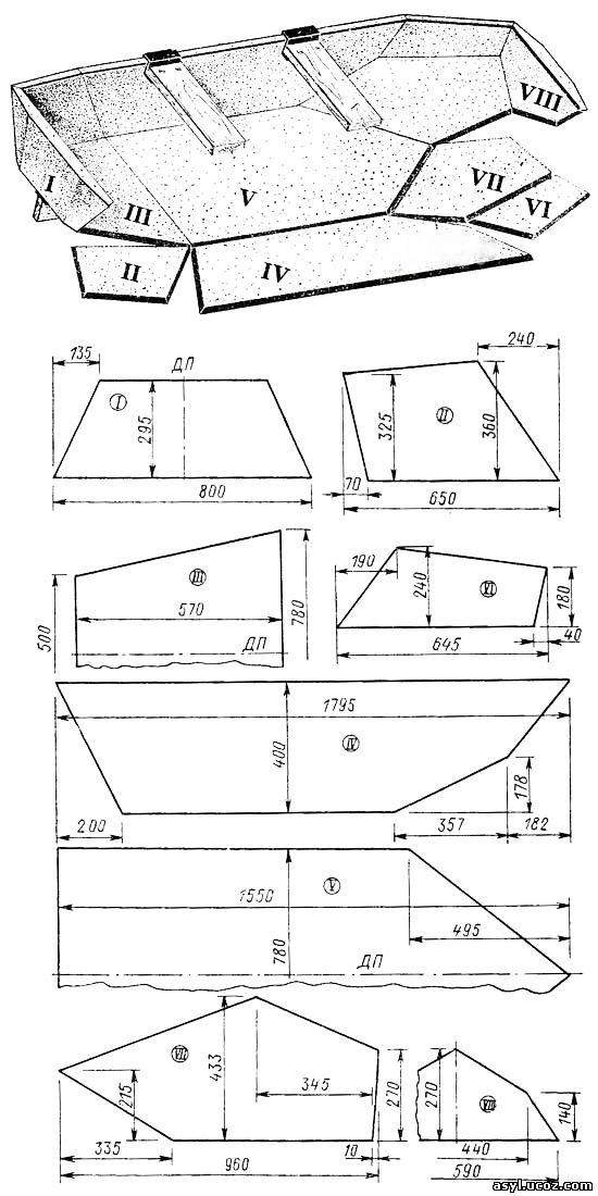 Раскрой деталей лодки из пенопласта