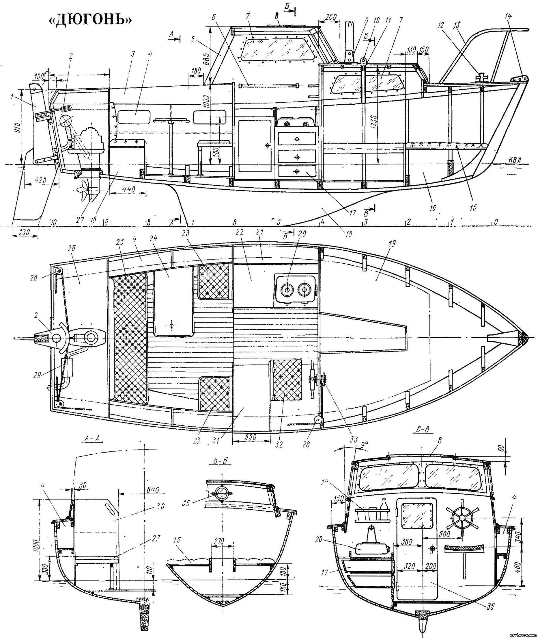 Общее расположение яхты «Дюгонь».