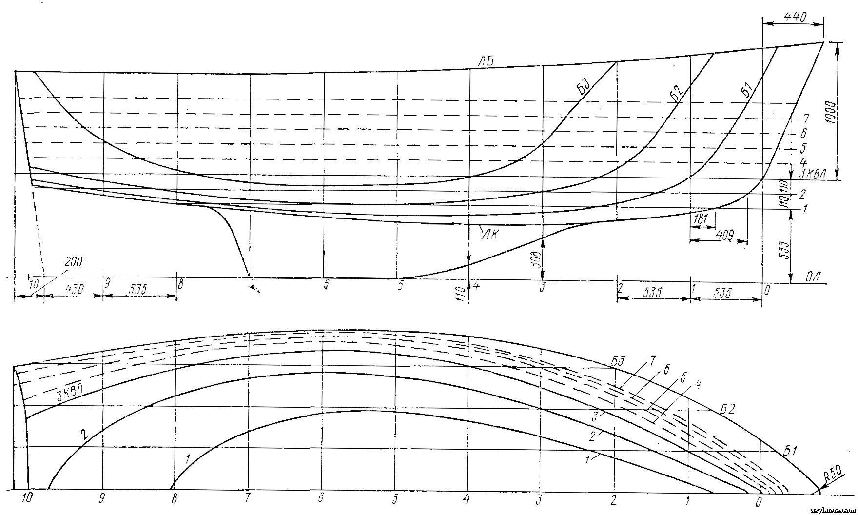 Теоретический чертеж корпуса яхты. Проекции: полуширота и бок.