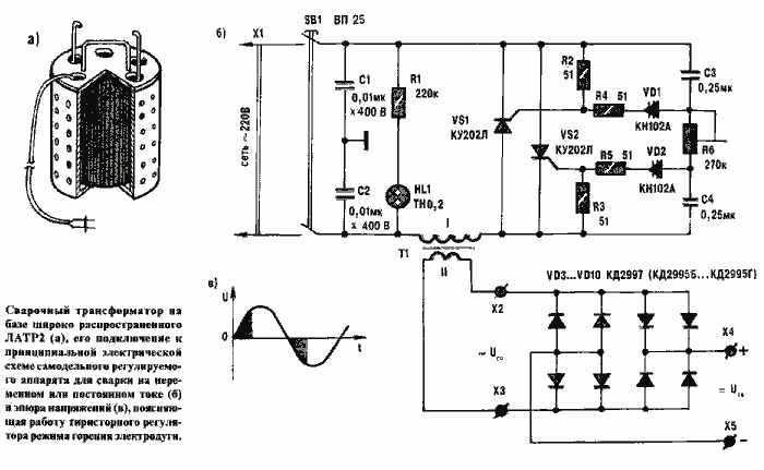 Сварочный аппарат на основе ЛАТР2 для сварки на переменном и постоянном токе