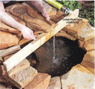 установка камня для водопадика