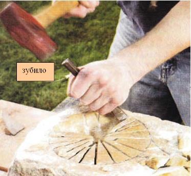 зубилом вырубываем куски и делаем чашу